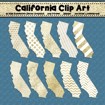 California Clip Art Graphic Set - Gold Glitter Set 2 {Personal + Commercial Use}