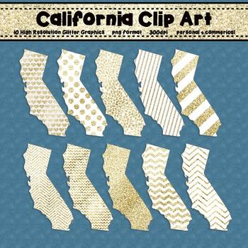 California Clip Art Graphic Set - Gold Glitter Set 2 {Pers