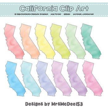 California Clip Art Graphic Set - Rainbow Pastels {Personal + Commercial Use}