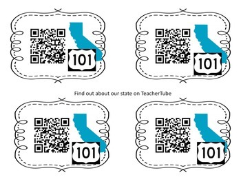 California Clues for Pen Pals or Research Hunt, Task Cards, QR...