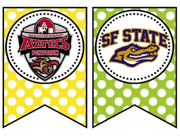 California College Banners Pennant Pennants