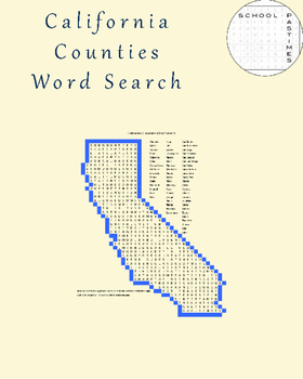 California Counties Word Search