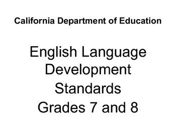 California ELD Standards - Grade 7/8 - To Post in Classrooms