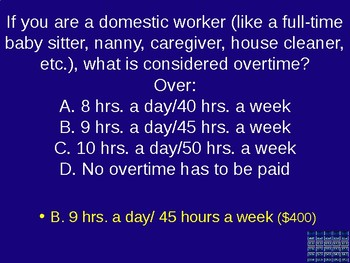 California Employee Rights Jeopardy for Teens