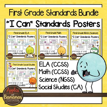 """First Grade Standards California- All Subjects """"I Can"""" Posters & Statement Cards"""