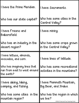 California Geography I Have Who Has