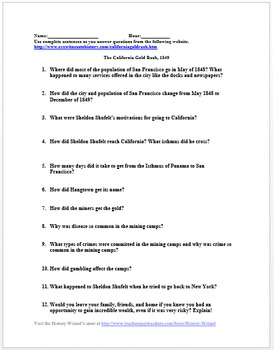 California Gold Rush 1849 Primary Source Worksheet by History Wizard