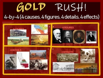 California Gold Rush - 4 causes, 4 figures, 4 events, 4 effects (20-slide PPT)