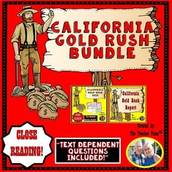 California Gold Rush Unit~ Passages Questions & Research Report Bundle