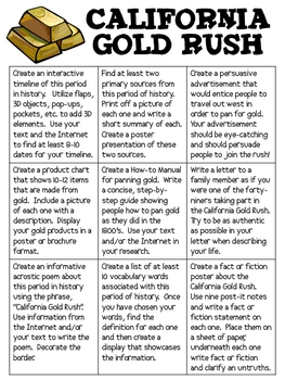 California Gold Rush Extension Menu with Research-Based Activities