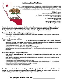 California Gold Rush Project Handout and Rubric