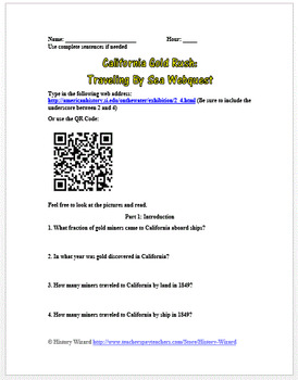 California Gold Rush: Traveling By Sea Webqest