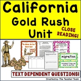 California Gold Rush Unit | Gold Rush | Reading Passages and Questions
