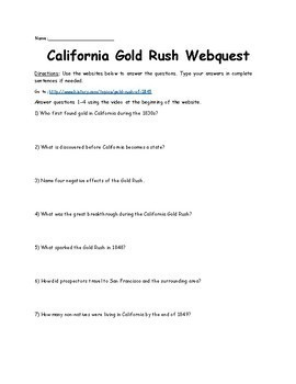 California Gold Rush Webquest