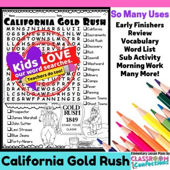 California Gold Rush Word Search