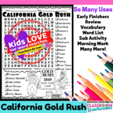 California Gold Rush Word Search