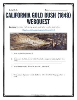 California Gold Rush of 1849 - Webquest with Key
