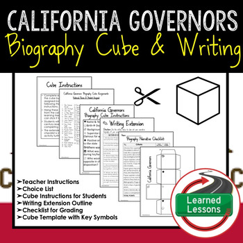 California Governors Activity Biography Cube with Writing Extension