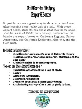 California History Expert Boxes