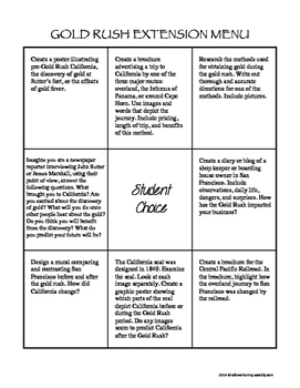 California History Extension Menus & Task Card Enrichment Activities!