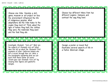 California History Extension Menus & Task Card Enrichment