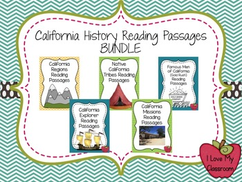 California History Reading Passage BUNDLE (5 products - 22 Passages)