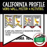 California History Word Wall, State Profile, Activity Pages