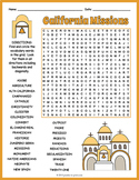 CALIFORNIA MISSIONS Word Search History Worksheet Activity