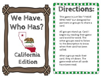 """California """"I Have Who Has"""" game"""