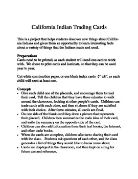 California Indian Trading Cards