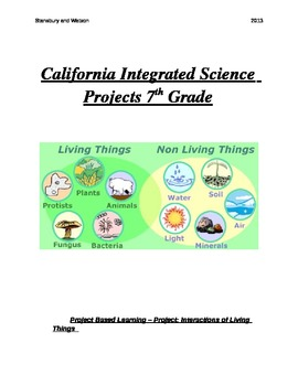 Common Core and California Integrated Science Projects for 7th Grade