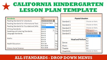 California Kindergarten Lesson Plan Template - All Standards Drop Down Menu