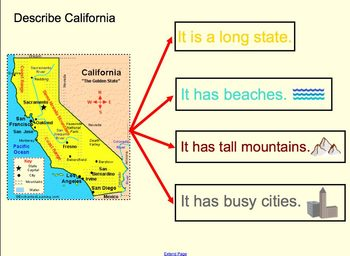 California Map Notebook Lesson for the SmartBoard