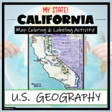 California Map Skills and Geography- Label and Color Activity!