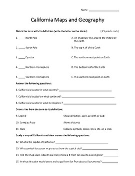 California Maps and Geography Worksheet