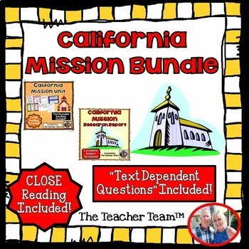 California Mission Unit~ Passages Questions & Research Report Bundle