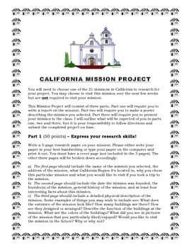 California Mission Project Description and Rubric