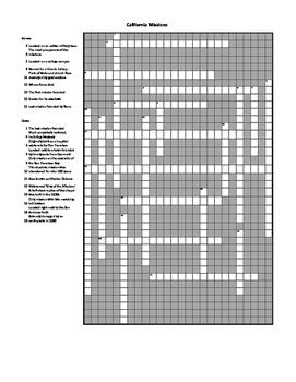 California Missions Crossword