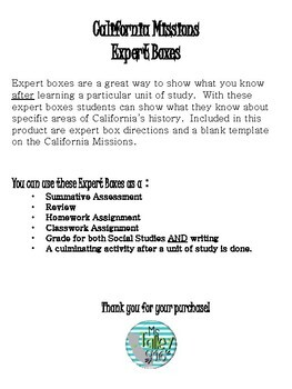 California Missions Expert Boxes