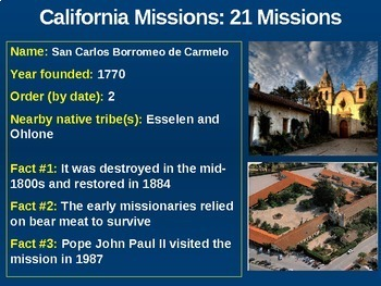 California Missions! (PART 2: 21 MISSIONS) - visual, textual, engaging