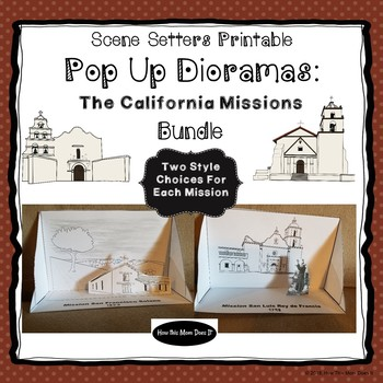 graphic about Printable Diorama titled California Missions - Printable Pop Up Diorama Craft - All 21 Missions