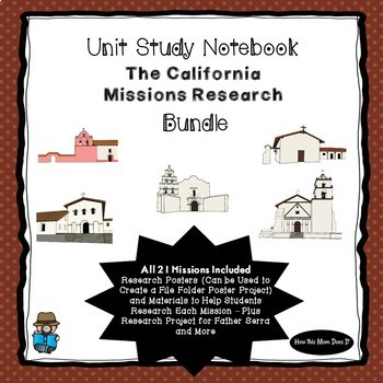 California Missions Research Project Bundle -  All 21 Missions Included