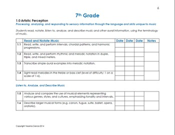 California Music Standards Checklists - Middle School (6th-8th Grade)