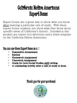 California Native Americans Expert Boxes