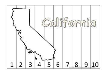 California Number Sequence Puzzle.  Learn the States preschool printable game.