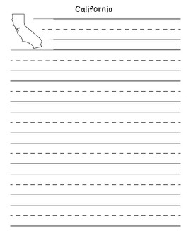 California Primary Outline Lined Paper