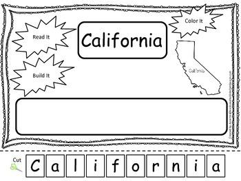 California Read it, Build it, Color it Learn the States preschool worksheet.