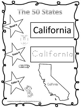 California Read it, Trace it, Color it Learn the States preschool worksheet.