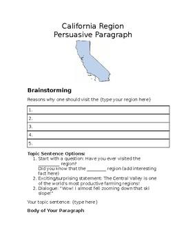California Regions Persuasive Paragraph