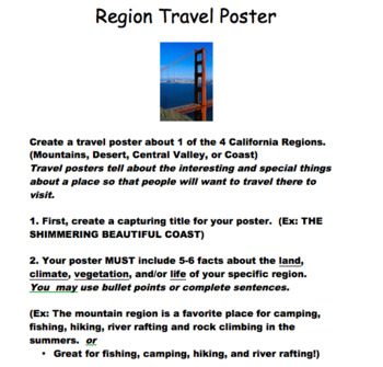 California Region Poster directions and rubric